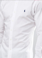 Ralph Lauren Long Sleeve Shirt Poplin White Men's Slim Fit Casual Top New Sale!