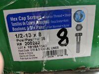 "50 Grade 5 Coarse Thread Hex Cap Screws 1/2 - 13 x 8"""