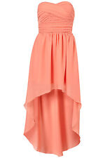 New TOPSHOP mullet hem chiffon bandeau dress by Rare UK 8 in Coral
