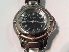 Guess Women's Watch Black Analog Dial Date Silver Tone Case Band 50M WR Quartz