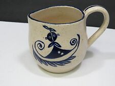 Whimsical Mid Century Modern Pottery Creamer Pitcher Blue Figure Signed