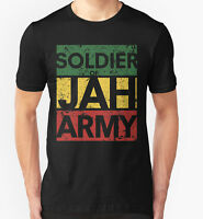 SOLDIER OF JAH ARMY T SHIRT JAMAICA MARLEY RASTA LION WEED HIGH