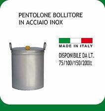 PENTOLONE INOX 18/10  LT.200 COMPLETO DI MANICI