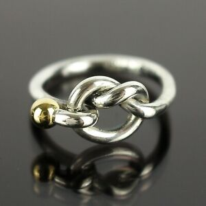 TIFFANY & CO. Love Knot Ring Sterling Silver 925 Yellow Gold 18K 750 Size 5