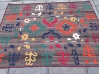Kilim Old Traditional Hand Made Afghan Oriental Kilim Brown Wool 209x152cm