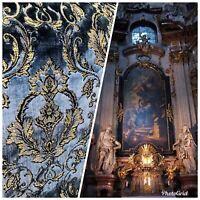 Novelty Designer Italian Burnout Damask Velvet Fabric - Upholstery- Blue G8