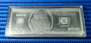 2000 United States $100 Franklin Quarter Pound Silver Proof Note
