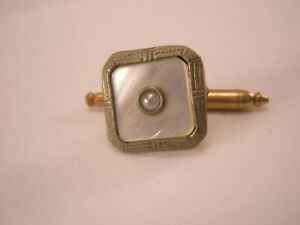 -SINGLES (1) M of Pearl Rolled Gold Plated Vintage Formal Tuxedo Shirt Stud f70