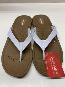 Okabashi Breeze White Flip Flops Womens New - Choose Size