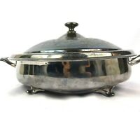 Simpson Hall Miller Silver Plate Serving Dish with Lid and Speckle Metal Insert