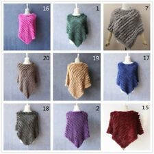 Knitted Poncho Women Winter Rabbit Fur Shawl Wrap Cape Warm Outerwear Chic New