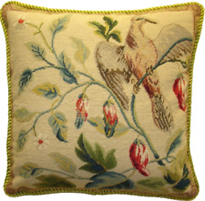 "16"" x 16"" Handmade Wool Needlepoint Petit Point Bird and Tree Pillow"