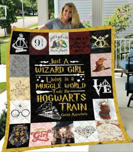 Harry Potter Just A Wizard Girl Quilt Blanket, Fleece Blanket Free Shipping