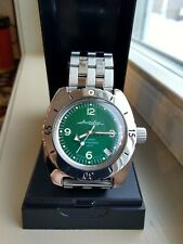 Vostok Amphibian Stainless Steel Automatic Watch Green Wave