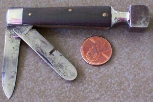 Unusual vintage CROWN WORKS GERMANY Pocket Knife w/ CIGAR BOX Hammer & Opener