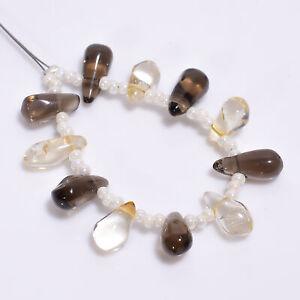 """Natural Smoky Quartz Citrine Teardrop Shape Smooth Beads Strand 3"""" DK-7180"""