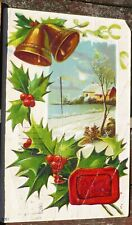 Antique Merry Christmas Postcard with Bells and Holly Postmarked 1912