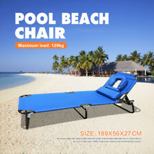 Folding Tanning Reclining Sun Bed Deck Lounge Pool Beach Chair Head Back Adjust