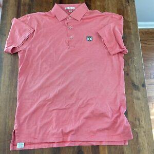 Peter Millar Polo Golf Shirt Red White Striped Size Medium Kinloch Golf Club