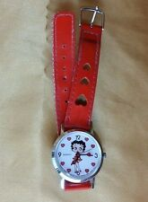 Vintage Betty Boop watch red band w heart cutouts 1989 Bright Ideas Unlimited *t