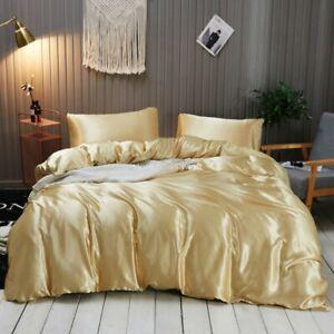 Satin Silk Duvet Cover Set Quilt Comforter Cover PillowCase Luxury Silky Bedding