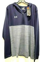 NWT Mens Long Sleeve 1/4 Zip Under Armour Heat Gear XL Hooded Blue LOOSE FIT