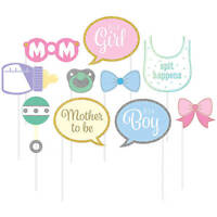 10 BABY SHOWER PHOTO BOOTH PROPS PARTY DECORATIONS CUTOUTS BOY GIRL BOTTLE BIB