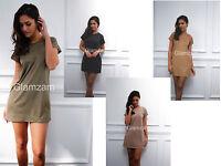 Glamzam New Womens Ladies Faux Suede Shift Mini Short Celeb Sleeve Party Dress