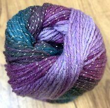 Purple Teal Glitter Swirl Papatya Batik Silver Yarn wool crochet knitting DK