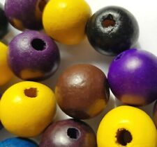 Large Hole Wood Beads Round Jewellery Making Mixed Colour 18-20 mm Pack x 18