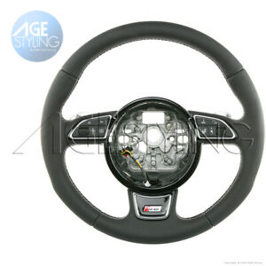 OEM Audi S6 A6 4G0 HEATED Leather Steering Wheel w. Chrome Gear Paddle Shifters