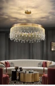Modern Nordic Pendant Light Gold Ring Hang lamp living room lobby crystal Light