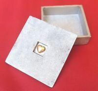 Vilmain Small Pewter Metal Treasure Trinket Box with Embedded Golden Heart Lid