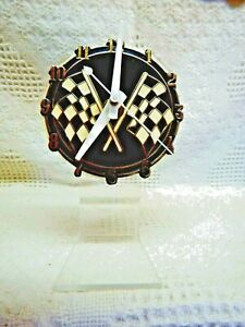 """Racing Flags (4"""") Dial Desk Clock (Battery Powered)(Acrylic Stand)"""