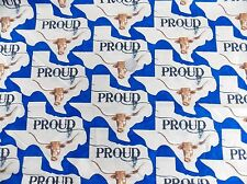2 YARDS MODA TEXAS PROUD BLUE LONGHORN FABRIC - STATE MAP - 11283 15 NEW ON BOLT