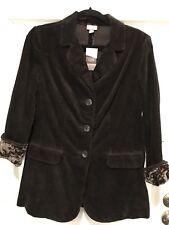 J. Jill Wide Wale Corduroy Jacket Velvet Trim Brown Size Petite Small Women ECU