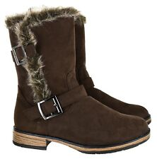 LADIES WINTER FURRY WARM COMFY SHOES WOMENS LATEST ANKLE BUCKLE ZIP BOOTS SZ 3-9