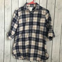 J Crew Plaid Blouse Shirt Top Womens Sz XS Extra Small half button front Blue