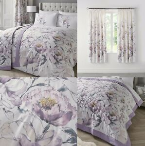 Peony Lilac Floral Duvet Cover Sets-Bedding Sets,Matching Curtains Available