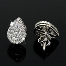 1 Ct Pear Shape Stud Diamond Carnation Earrings G VS Round Cut In 14K White Gold
