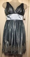 Davids Bridal Black Mesh Blue Satin Bead Strap Dress Gown Size 6 Style 4010-0095
