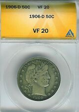 1906-D Barber Half Dollar : ANACS VF20
