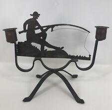 Vintage 1920's Arts & Crafts Copper Wrought Iron Folk Art Fisherman Candleholder