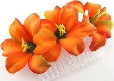 "Triple 2"" Mango Orange Lily Silk Flower Hair Comb,Wedding,Prom,Luau,Dance"