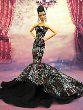 Eaki Chiffon Black Outfit Gown Evening Dress Silkstone Barbie Fashion Royalty FR