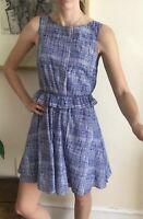 Gorgeous Jaeger Dress Blue White Print Scribble Summer Cotton Silk  Uk 6 8