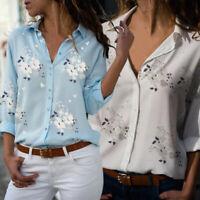 Women Long Sleeve V-neck Shirt Top Blouse Fashion Casual Plus Size Flower Print