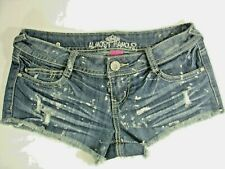 Women's Almost Famous Distressed Destructed Embroidered Frayed Denim Shorts Sz 3