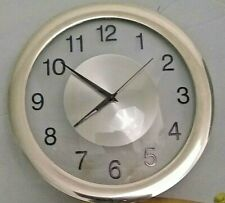 MA - TIME QUARTZ WALL CLOCK SILVER COLOR WITH BATTERY
