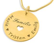 Namenskette gold Familie Herz Kette Gravur Geschenk Frau Halskette Wunschgravur